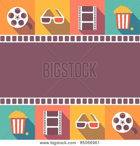 Cinema icons set. Flat style signs  vector illustration