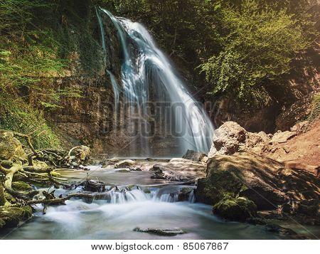 Jur-jur waterfall in Ukraine, summer