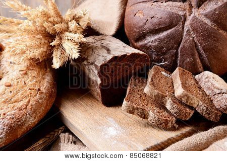 Different bread on table close-up