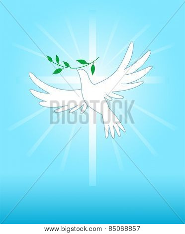 Peace dove on the cross background. Raster version.