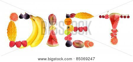 Word Diet made of fruits and berries isolated on white