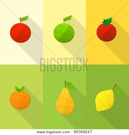 Set of flat fruits
