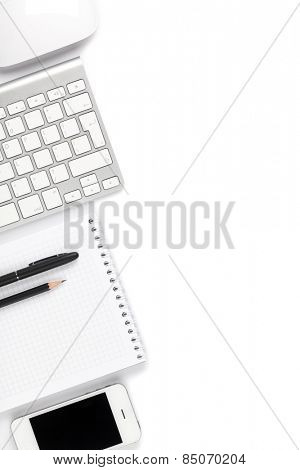 Office desk table with computer and supplies. Isolated on white background. Top view with copy space