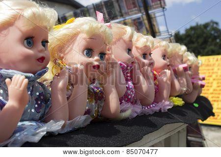 Dolls at street market Ciechocinek Poland