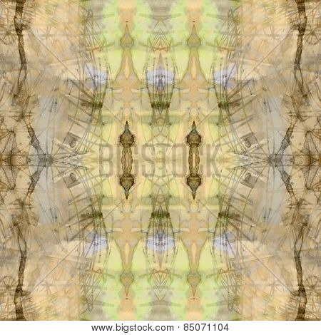 art nouveau ornamental vintage  pattern, S.5, colorful watercolor background in pastel beige, green, blue, old gold and brown colors