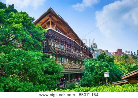 TAIPEI, TAIWAN - JANUARY 16, 2013: The Beitou Library. The wooden structure is noted for its eco friendly construction.