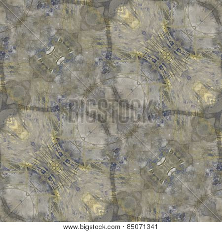 art nouveau ornamental vintage  pattern, S.8, monochrome watercolor background in pastel yellow gold, blue and grey colors