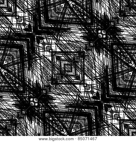 art sketched naive ornamental black pattern isolated on white background, s.10