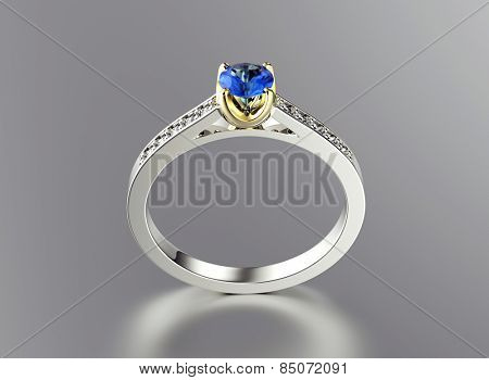 Golden Ring with Diamond. Jewelry background. Valentine day. Sapphire