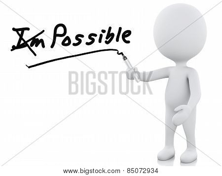 3D White People, Optimistic Attitude. Isolated White Background