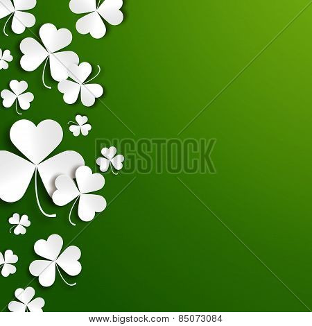 Saint Patricks Day Greeting Vector Card, Realistic Paper Shamrock Leaves