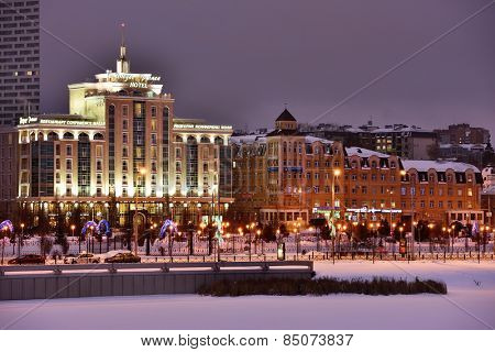 KAZAN, RUSSIA - JANUARY 3, 2015: Night view to the Millennium park in winter. The creation of park in 2005 was dedicated to the 1000th anniversary of Kazan city