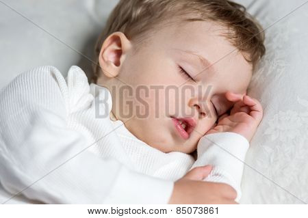 Toddler Boy Sweetly Asleep On A Pillow