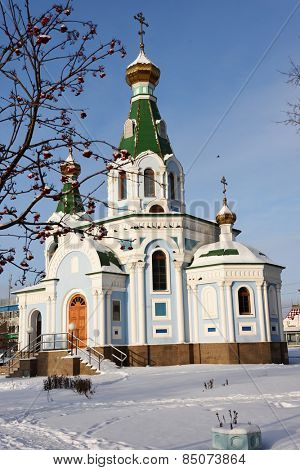 YEKATERINBURG, RUSSIA - JANUARY 1, 2015: Church of the  Reigning icon of the Mother of God near the main train station. The church was opened in 2011