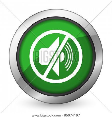 mute green icon silence sign