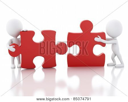3d white people work  team assemble piece of a puzzle.