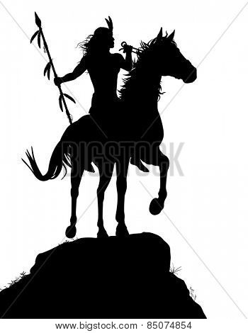 Illustrated silhouette of a native American Indian warrior riding a horse