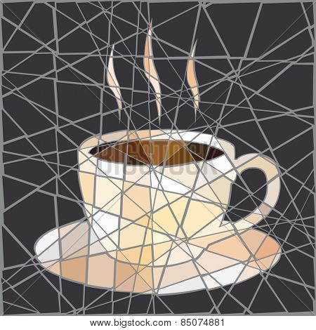 Mosaic illustration of a cup of steaming coffee
