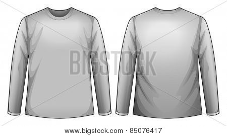 long sleeves shirt with front and back view