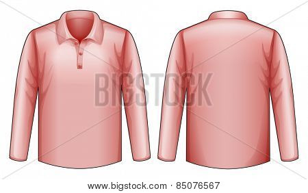 Long sleeves pink shirt with front and back view