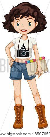 Single hipster girl standing