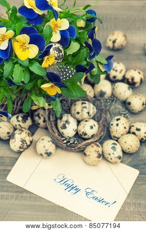 Pansy Flowers, Quail Eggs And Greeting Card