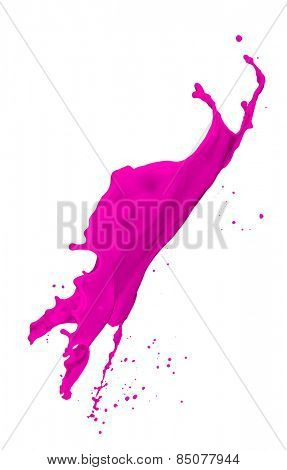 magenta paint splash isolated on white background