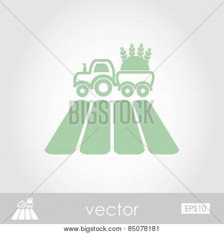 Tractor On Field Vector Icon