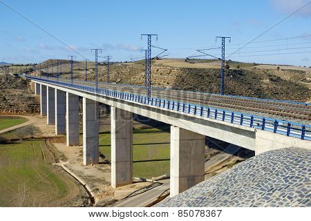 view of a high-speed viaduct in Alconchel de Ariza, Saragossa, Aragon, Spain.