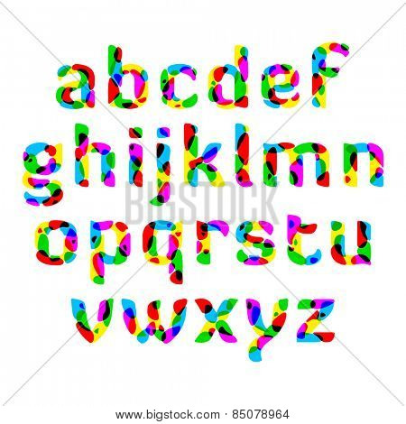 Bright alphabet. Vector.