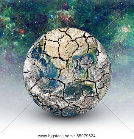 Cracked Earth On The Background Of The Starry Sky. Elements Of This Image Furnished By Nasa (http://