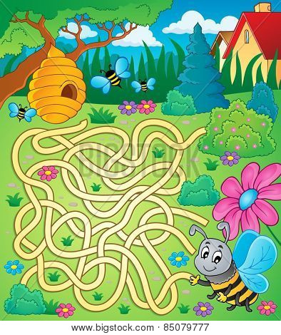 Maze 4 with bee theme - eps10 vector illustration.