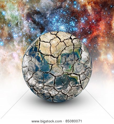 Cracked Earth On The Background Of The Starry Sky
