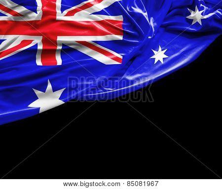 Australian waving flag on black background