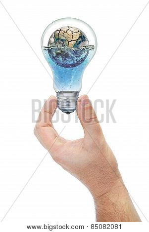 Land Submerged In The Bulb Keeps Hand. Elements Of This Image Furnished By Nasa (http://www.nasa.gov