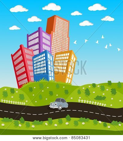 Illustration of a cartoon road driving through cityscape downtown