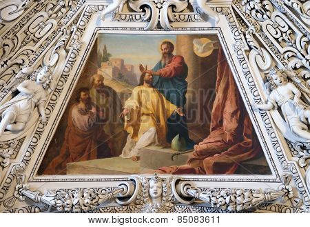 SALZBURG, AUSTRIA - DECEMBER 13: Fragment of the dome in the Chapel of the Holy Spirit, Salzburg Cathedral on December 13, 2014 in Salzburg, Austria.