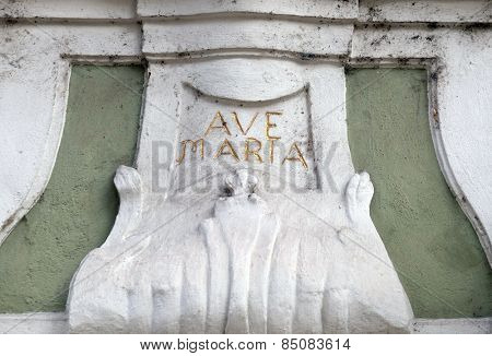 GRAZ, AUSTRIA - JANUARY 10, 2015: Ave Maria monogram on the house facade in Graz, Styria, Austria on January 10, 2015.