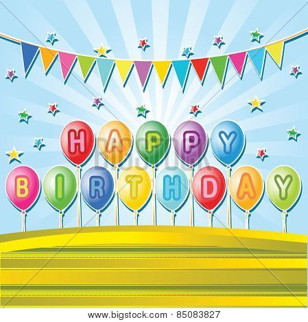 Birthday balloons.Happy birthsday card  with Party element