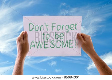 Don't Forget to be Awesome! card with sky background