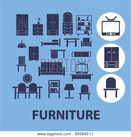 furniture, interior isolated icons, signs, illustrations design concept set for web, internet, application, vector