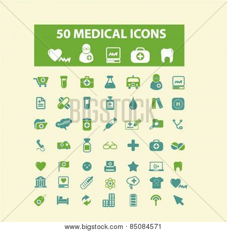 50 medical, medicine, health, care, hospital isolated icons, signs, illustrations design concept set for web, internet, application, vector