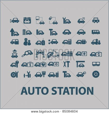 auto station, car services isolated icons, signs, illustrations design concept set for web, internet, application, vector