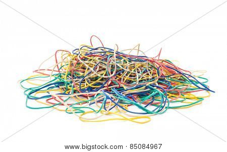 Pile of elastic bands. All on white background