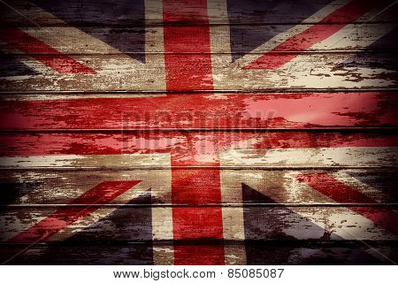 Closeup of Union Jack flag on boards