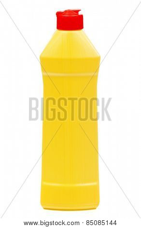 Yellow plastic bottle with detergent without label isolated on white background