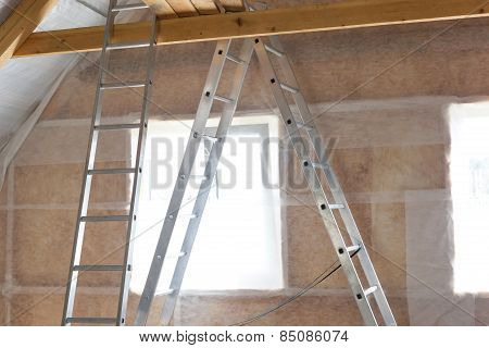 Inside Wall Insulation In Wooden House