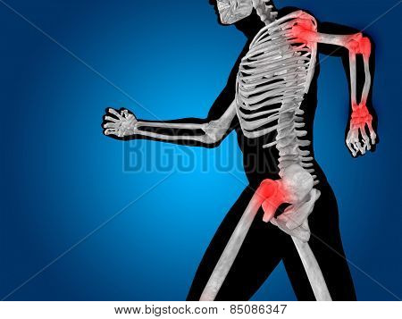 Conceptual 3D human man anatomy or health design, joint or articular pain, ache or injury on blue background, for medical, fitness, medicine, bone, care, hurt, osteoporosis, painful, arthritis or body