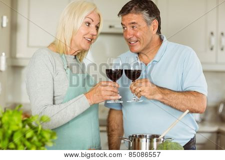 Happy mature couple making dinner together at home in the kitchen
