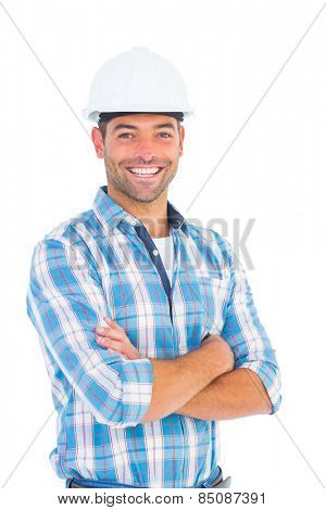 Portrait of confident manual working wearing hardhat on white background